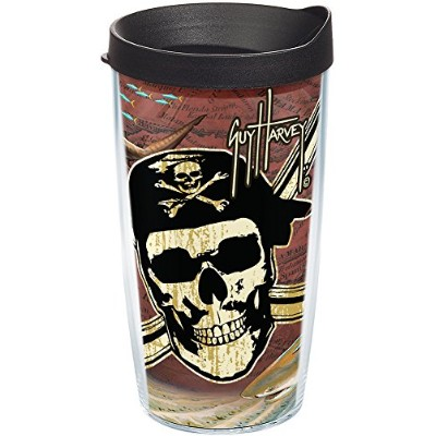 Tervis 1252068Guy Harvey–Under Sea海賊Tumbler with Wrap andブラック蓋16オンス、クリア
