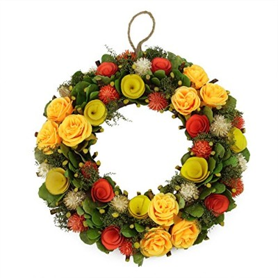 32cm Peach, Orange and Yellow Flowers with Moss and Twig Artificial Floral Spring Wreath