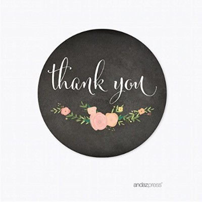 Andaz Press Chalkboard Floral Party Wedding Collection, Round Circle Label Stickers, Thank You, 40...