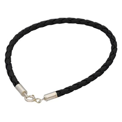 Sterling Silver and Braided Black Faux Leather Bracelet - 20.3cm