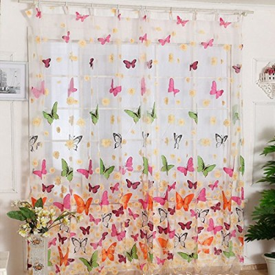 Voberry(tm) Girl Butterfly Print Sheer Window Panel Curtains Living Room Divider 200x100cm by...