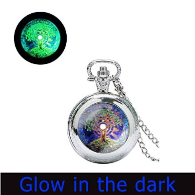 glowlala @ Tree of Life腕時計ネックレスGlow in the Dark Moon andツリーGlowing WatchネックレスFull Moon Blue and...