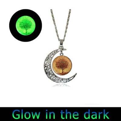 glowlala Glowing秋ツリーネックレスFull MoonネックレスBurntオレンジペンダントWearableアートwithチェーン