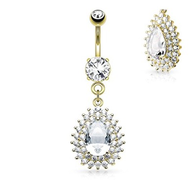 14 g Double Tier Cz And Large CZ centertearドロップダングルへそリング(個別販売)