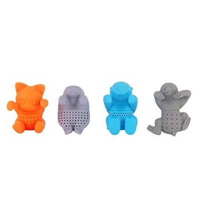 Tea infuser herbal tea filter strainer silicone Hippo Otter Sloth Cat shape tea infuser for loose...