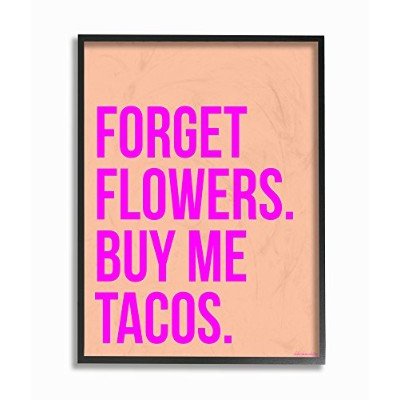 "The Stupell Home Décor Collection Forget Flowers Buy Me Tacos ストレッチキャンバスウォールアート 11"" x 14"" lls-314..."