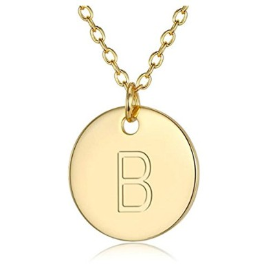 """14Kゴールドonスターリングシルバー文字ペンダントネックレス18"""" Dainty Personalized初期ネックレスLayering Necklace inギフトボックス"""