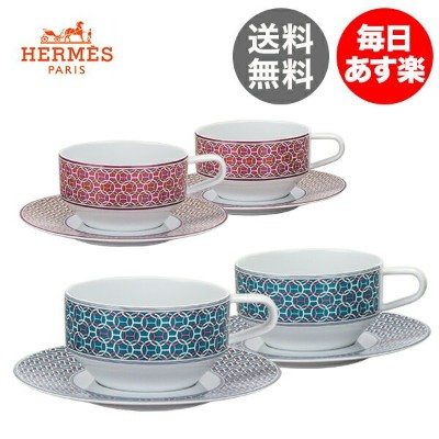 【3%OFFクーポン】エルメス Hermes タイ・セット ティーカップ&ソーサー ペア 2客セット TIE SET Tea Cup and Saucer 食器 プレゼント お祝い 新生活