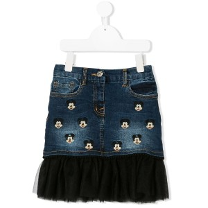 Monnalisa embroidered Mickey Mouse denim skirt - ブルー