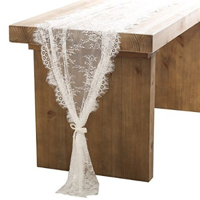 Ling's moment 80cm x 300cm White Lace Table Runner/Overlay, Spring & Summer Rustic Chic Wedding...