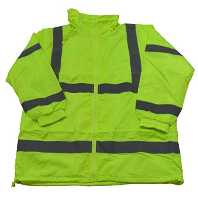 Petra Roc LWB-C3-XL Wind Breaker Jacket Ansi Class 3 Lime Green Light Weight with Removable Hood &...