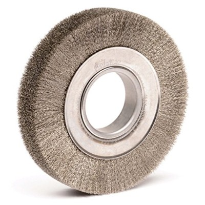 Weiler 3480 Face Crimped Wire Wheel, 6 Wide, 0.06 Stainless Steel Fill, 2 Arbor Hole by Weiler