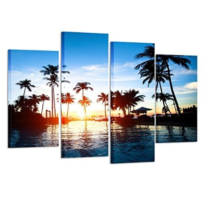 Kreative Arts – Framed壁アートキャンバス印刷Tropics Sea on Sunset Picture Large 4 Pieces Palm Treeシースケープペイントアート...