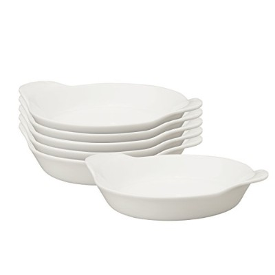 HIC Round Au Gratin Porcelain Creme Brulee Dish, 5-Inch,4-Ounce Capacity, Set of 6, by HIC Harold...