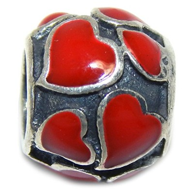 Proジュエリー925Solid Sterling Silver Red Heartsバレルチャームビーズ