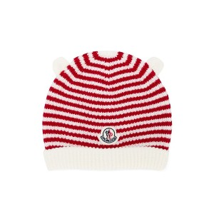 Moncler Kids striped beanie hat - レッド