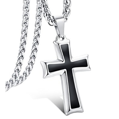 (B:silver-tone) - LOLIAS Stainless Steel Cross Pendant Necklace for Men Women 4mm Wheat Chain 24IN