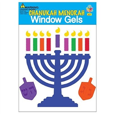 Happy Hanukkah Window Gel Clings Chanukah DreidelsとMenorah