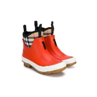 Burberry Kids Check-lined wellies - レッド