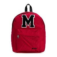 Msgm Kids logo patch backpack - レッド