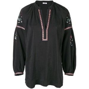 Vilshenko v-neck embroidered kaftan - ブラック