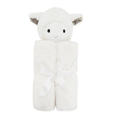 OLizee Cartoon Plush Security Baby Blanket Comfy Cozy Baby Bath Towel Ultra Soft Cuddle Bud Blankie 30 x 30, White Lamb by OLizee