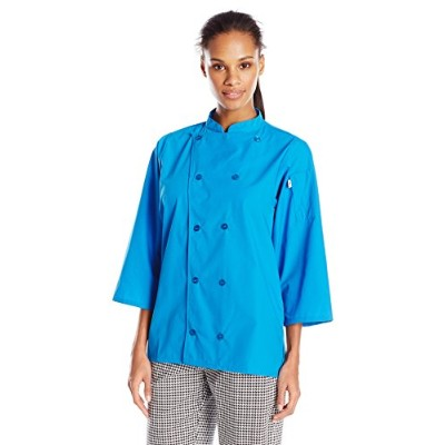 Uncommon Threads 0975-5106 Epic 3/4 Sleeve Chef Shirt in Cobalt - 2XLarge