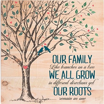 """Our Family Like Branches on A Tree Palletアート祝い祖父母家族記念贈り物for 24"""" x24"""" by DaySpringマイルストーン"""