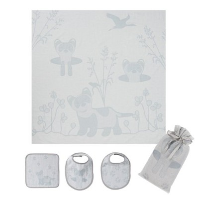 Breganwood Organics Muslin Swaddle, Bib & Wash Cloth Set, Grey Ferret Prairie Collection by...