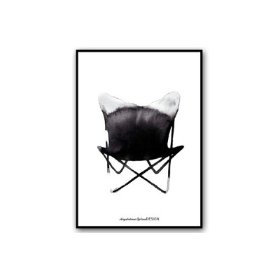 Magdalena Tyboni Design ポスター/アートプリント 50 x 70 cm Chair Butterfly【北欧 スウェーデン デンマーク バタフライチェア 椅子 家具 イラスト...