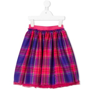 Il Gufo pleated plaid skirt - ピンク&パープル
