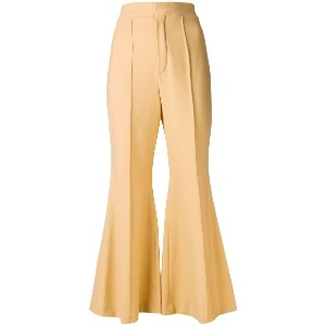 Chloé cropped flared tailored trousers - ブラウン