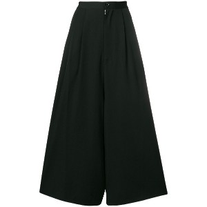 Y's cropped wide-leg trousers - ブラック