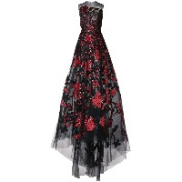 Oscar de la Renta taffeta and sequin floral embroidered gown - レッド