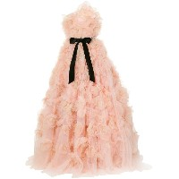 Marchesa strapless tulle degrade layered dramatic ballgown - ピンク&パープル