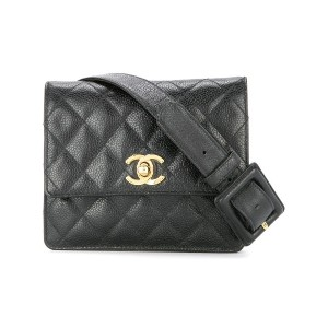 Chanel Vintage Quilted CC Logos Chain Bum Bag - ブラック