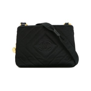 Chanel Vintage CC logo stitch shoulder bag - ブラック