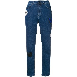 Versace Jeans high waisted patch jeans - ブルー