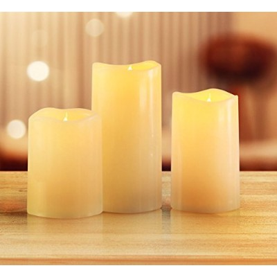 (Ivory) - KMSdeco Outdoor Indoor LED Candles Waterproof Battery Operated candles with Timer -...