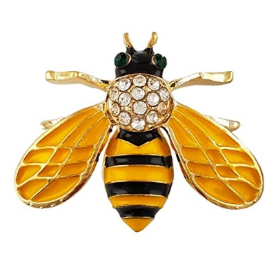 SELOVO Honeybee Bee Yellow Enamel Small Cute Brooch Pin Gold Tone Clear Crystal