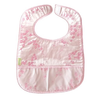 Set of 2 Brocade Baby Bibs in Silver with Light Pink Cherry Blossoms Pattern by I Frogee