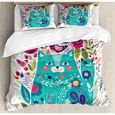 Cat布団カバーセットby Ambesonne、かわいいKitty Surrounded by鳥花Ladybugs Inspirational Folk赤ちゃんテーマ、装飾寝具セットwithピロー...