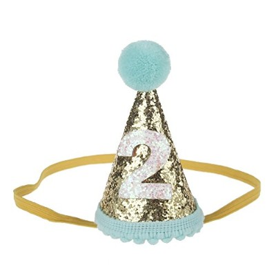 (Mint Gold 2) - Petsidea Glitter Dog First Birthday Cone Hat Mini Doggy Cat Kitty Birthday Party...