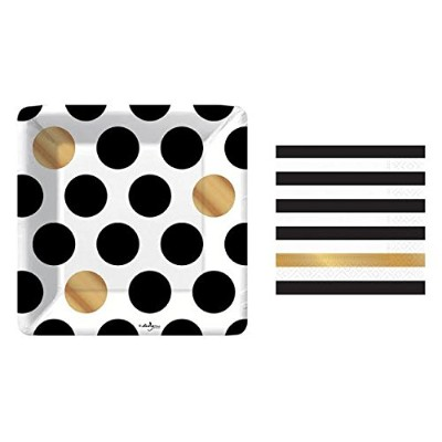 Kenzie Black and Gold Small Plates and Napkins By Design Design