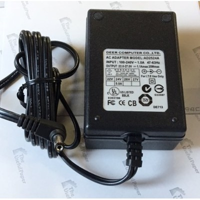 DEER AC ADAPTER AD2524A 22.0-27.0V