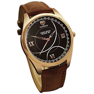 chezabbeyメンズラグジュアリーアナログクオーツカレンダービジネス防水手首腕時計 One Size Black Dial with Brown Strap