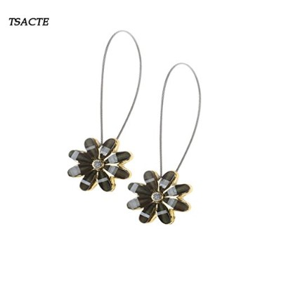 (2, Bronw) - TSACTE Curtain Clips Tiebacks Holdbacks 1 Pair Magnetic Flower for high-grade thick...