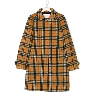 Burberry Kids TEEN check coat - ニュートラル