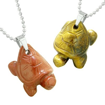 Lucky TurtlesチャームLoveカップルまたはBest Friends Healing AmuletsセットTiger Eyeレッドジャスパーネックレス