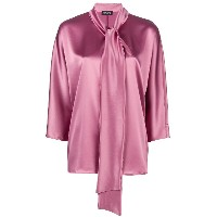 Gianluca Capannolo bow tie sheen blouse - ピンク&パープル